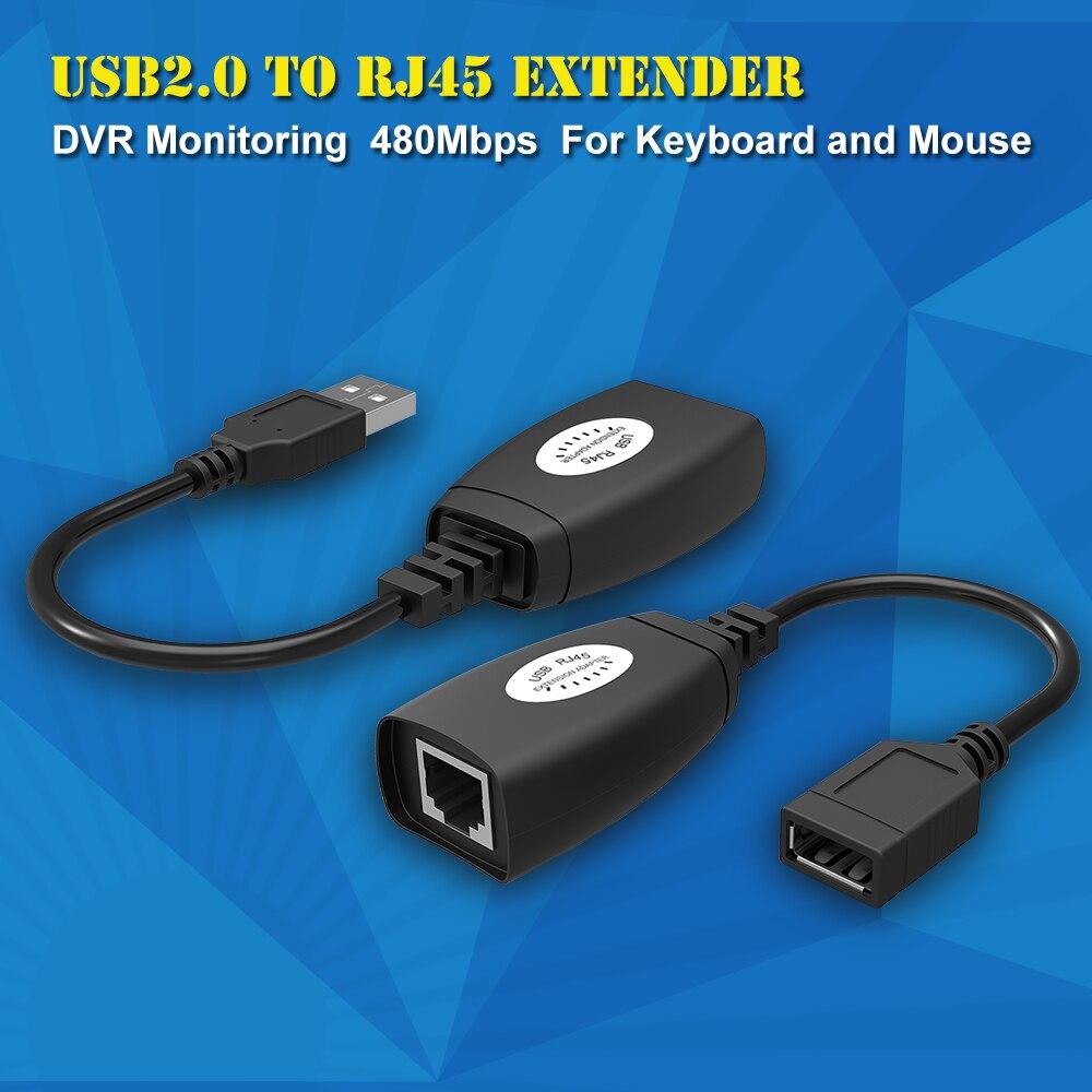 Nuevo adaptador extensor USB 50m Single RJ45 Ethernet CAT5E 6 hasta 150ft Cable para Laptop DVR Mouse