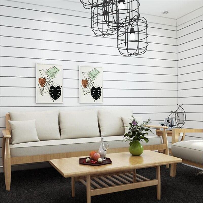 Простые современные нетканые настенные Стикеры для спальни гостиной стены черно-белые полосатые простые самоклеющиеся обои