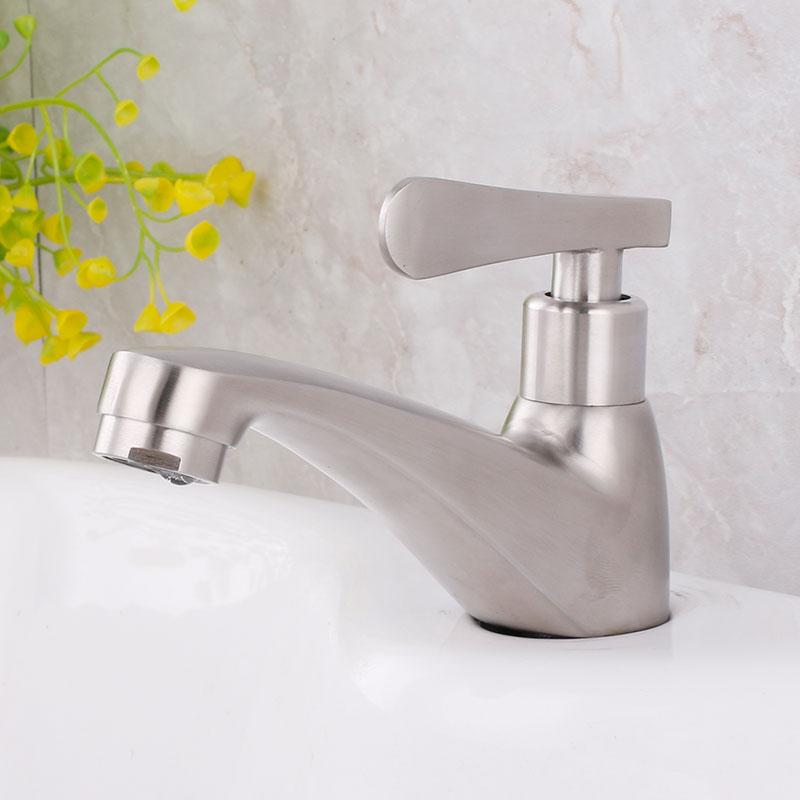 Robinet de lavabo de salle de bains   Petit design simple froid en acier inoxydable 304