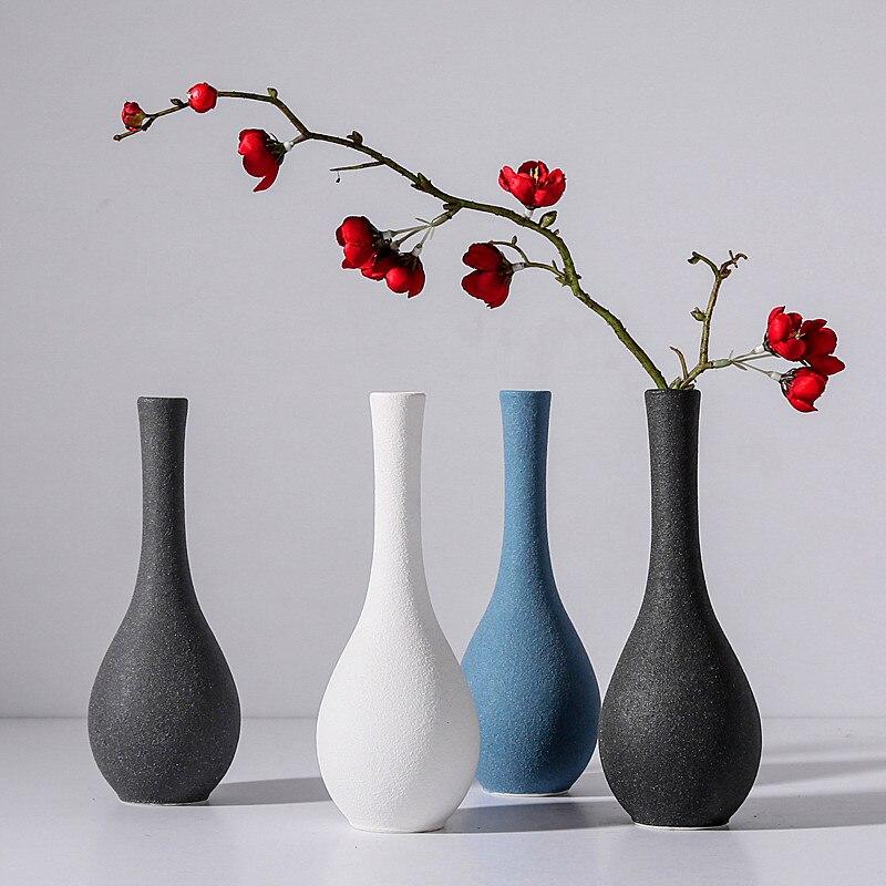 Scrub flor seca florero Guanyin botella para limpiar Jardiniere de cerámica sala de estar decoración del hogar vino Retro nevera decoración regalo de boda
