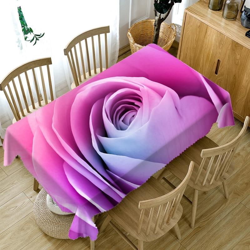 Mantel 3D con diseño de rosa para boda, paño lavable a prueba de polvo, mantel de mesa Rectangular y redonda de algodón grueso