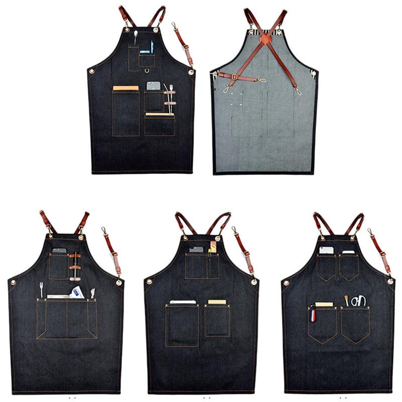 Delantal de mezclilla tipo babero Unisex de 4 estilos con correa de cuero, batas de trabajo para Barista, suministros de herramientas de limpieza del hogar