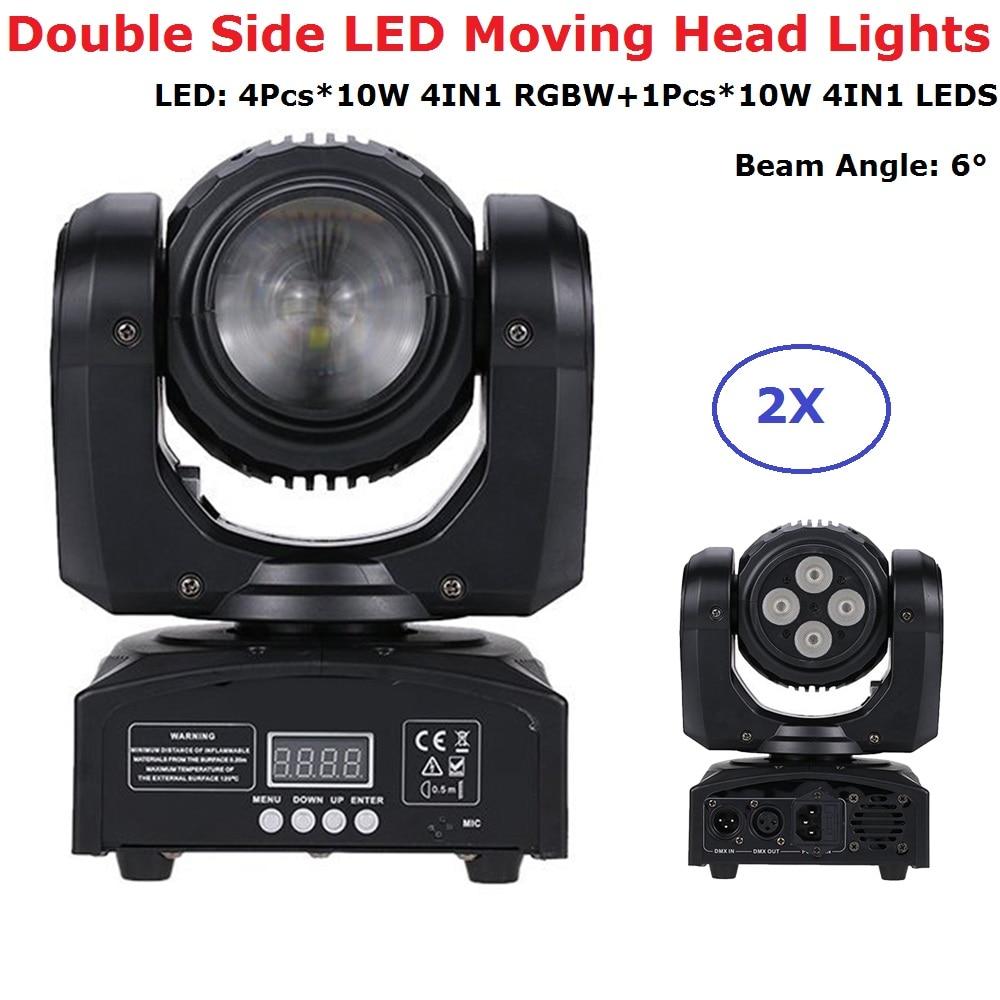 2Pcs/Lot Free Shipping Double Face LED Moving Head Lights Dj Bi-Sides Mobile Beam 10W RGBW LEDS + 4X10W RGBW 4IN1 LED Wash Light