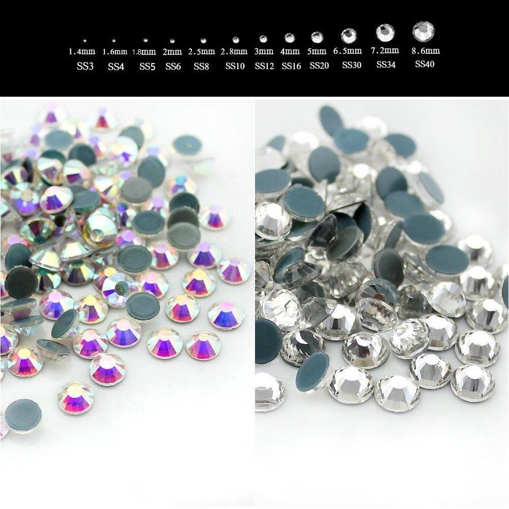 Diamantes de imitación de hierro en la parte posterior plana para vestido de uñas AAAA + SS6 SS10 SS16 SS20 SS30 SS34 SS40 Cristal AB transparente DMC
