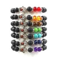 new natural stone charm bracelet black lava matte beaded palm shaped decoration handmade men women prayer beads braceiet jewelry