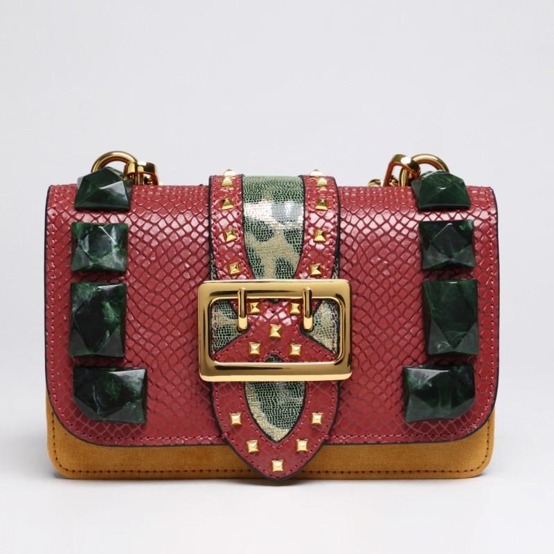 New Famous Brand Leather Messenger Bags Women Fashion Panelled Snake Print Rivet Ladies Flap Chains Handbags Shoulder Bags