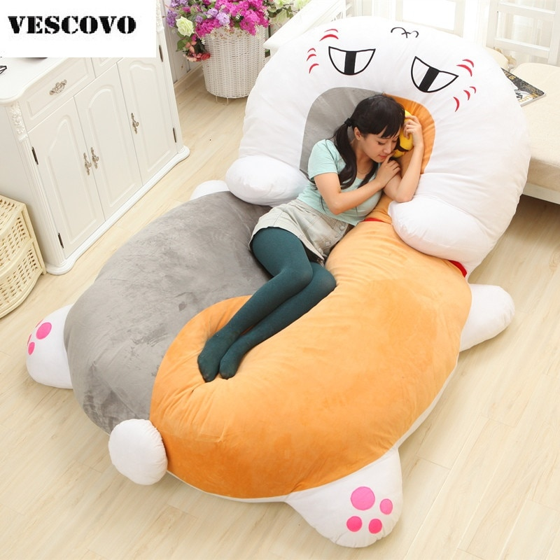 Japón dibujos animados saco de dormir colchón de dibujos animados Totoro gigante cama doble cojín de espuma de memoria de felpa Tatami Beanbag Pad