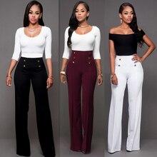 Pantalones de mujer de moda de cintura alta sólidos sueltos ancho y largo pantalones que fluyen Palazzo otoño Pantalones de mujer de alta calidad