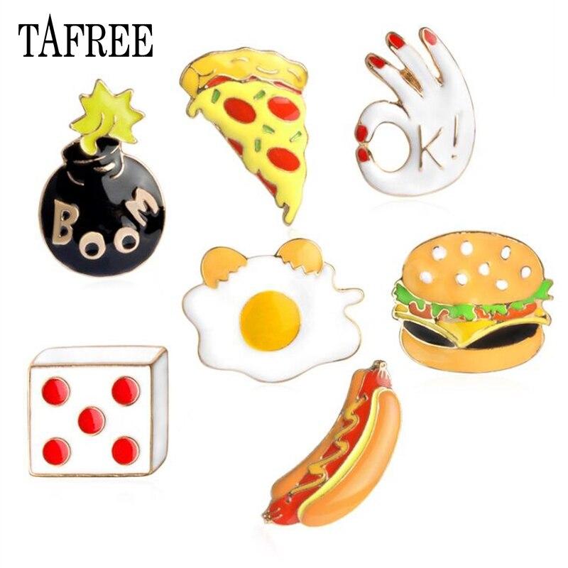 TAFREE Colorful Enamel Lapel Pins Hamburger,pizza,hot dog,Boom,Ok,dice Brooches Food Style Badge Dress and Bag Accessories LP79