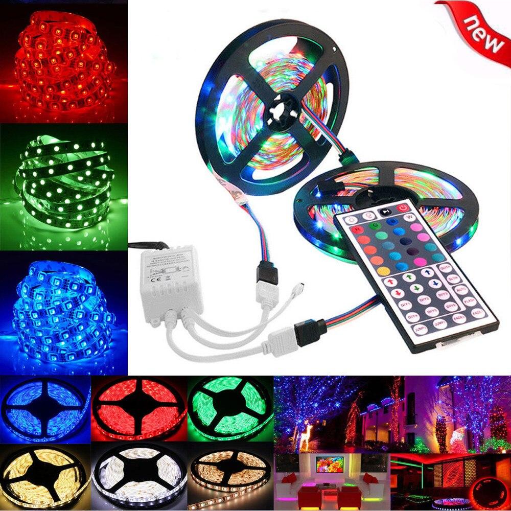 LED strip 2019top 5M or 10M 3528 SMD RGB 600 LED Strip light string tape+44 Key IR remote control g90722