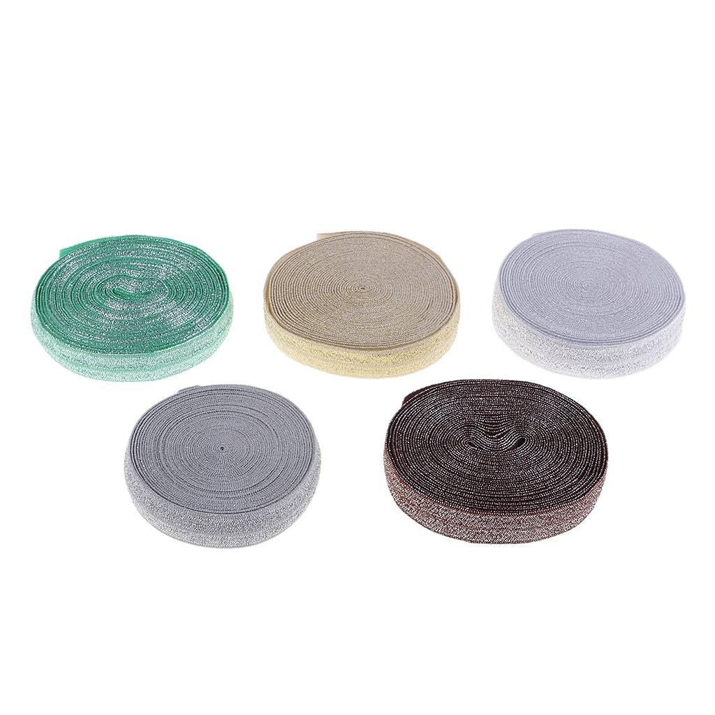 Cinta elástica de 5 yardas y 1,5 cm de ancho para coser con purpurina, cinta elástica para decoración de vestido y ropa