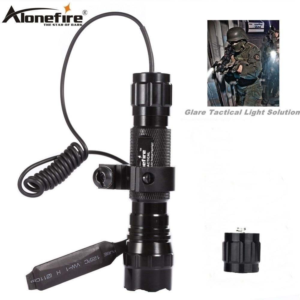 Alonefire led tactical gun lanterna 501b XML-T6 tocha trilho 20mm airsoft rifle escopo montar tiro arma luz 18650 bateria