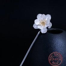 Amxiu fait à la main 925 argent Sterling Lotus fleur cheveux bâtons deux tons épingles à cheveux longs bijoux pour femmes filles accessoires