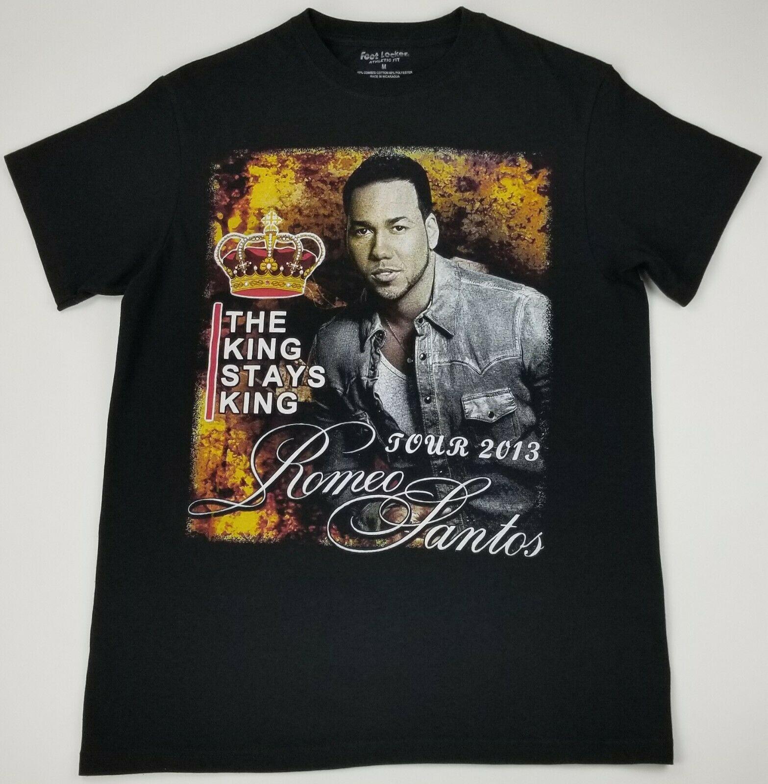 VTG Romeo Santos el rey se mantiene King Tour parte delantera trasera estacionamiento Bootleg camiseta de rap nueva moda camiseta estampado de letras camiseta