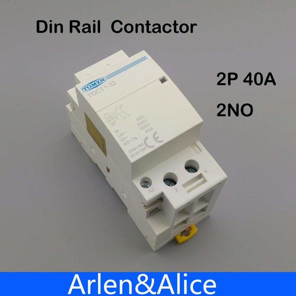 2P 40A 220V/ 230V 50/60HZ Din rail Household ac Modular contactor 2NO