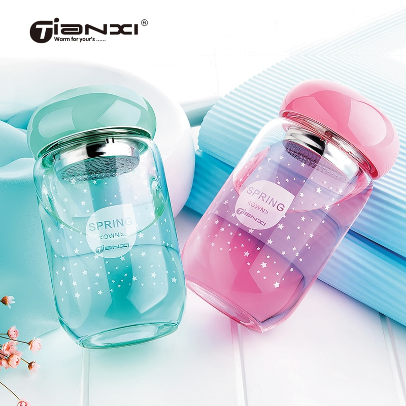 Botellas de agua de 320 ml, tetera con tapa creativa portátil de cristal Tianxi, tetera de cristal transparente a prueba de fugas para estudiantes