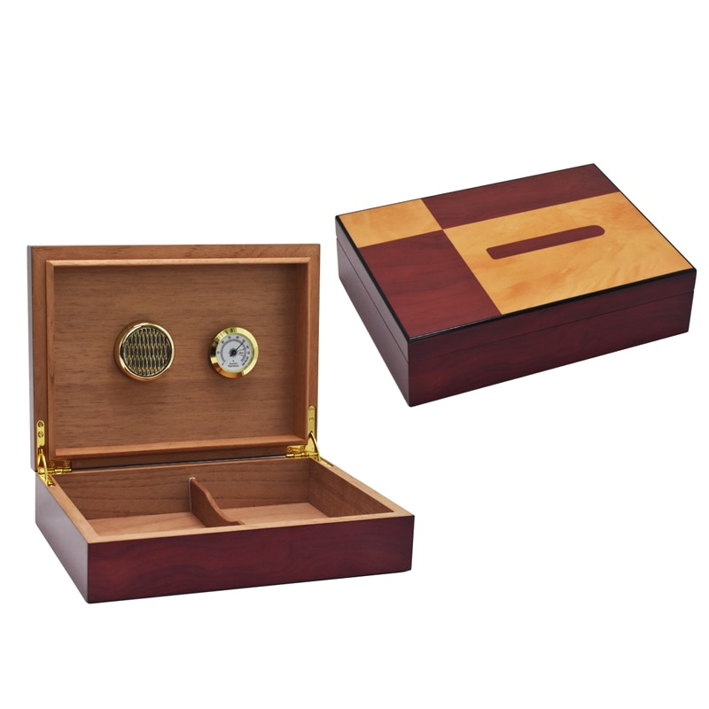 Solid Wood Large Capacity Cigar Storage Box humidity adjustable Moisturizing Device Humidor High Glossy Desktop Cigar Smoke Box
