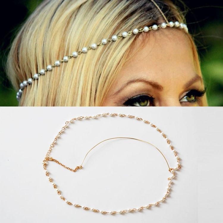 Bohemia mujer Metal 4mm imitación perla elástica bandas cabeza cadena joyería frente diadema accesorios para el cabello tocado