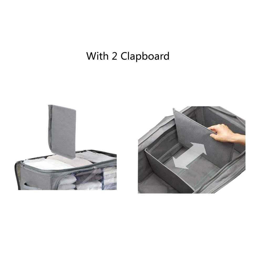 E-doo Underbed Storage Bag with Double Zippers and Transparent Window Fabric Folding Organizer Bag for Clothes Storage