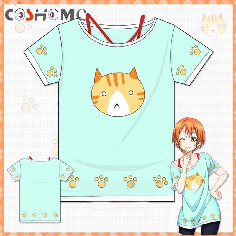 Футболка Coshome Love live, футболка для косплея Lovelive Hoshizora Rin, футболка с котом для женщин и девочек на вечеринку на Хэллоуин, летняя футболка