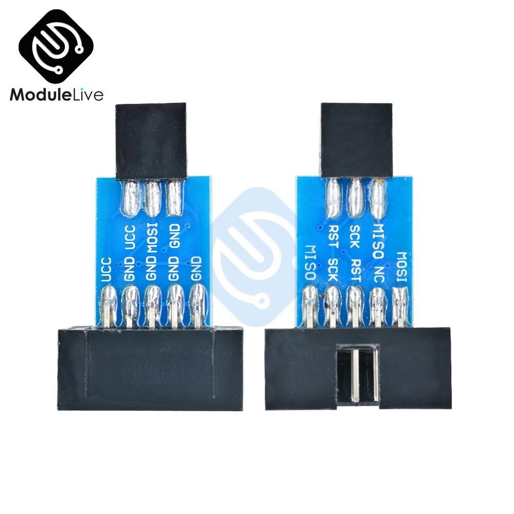 2 uds 10 pines a 6 pines convertir a la placa adaptadora estándar de 10 pines a 6 pines para ATMEL STK500 AVRISP USBASP ISP interfaz convertidor AVR