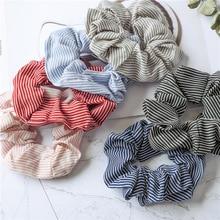 Scrunchie élastique pour femmes   Bandes de cheveux élégantes, rayures, corde de cheveux, cravates pour filles, accessoires pour chapeaux