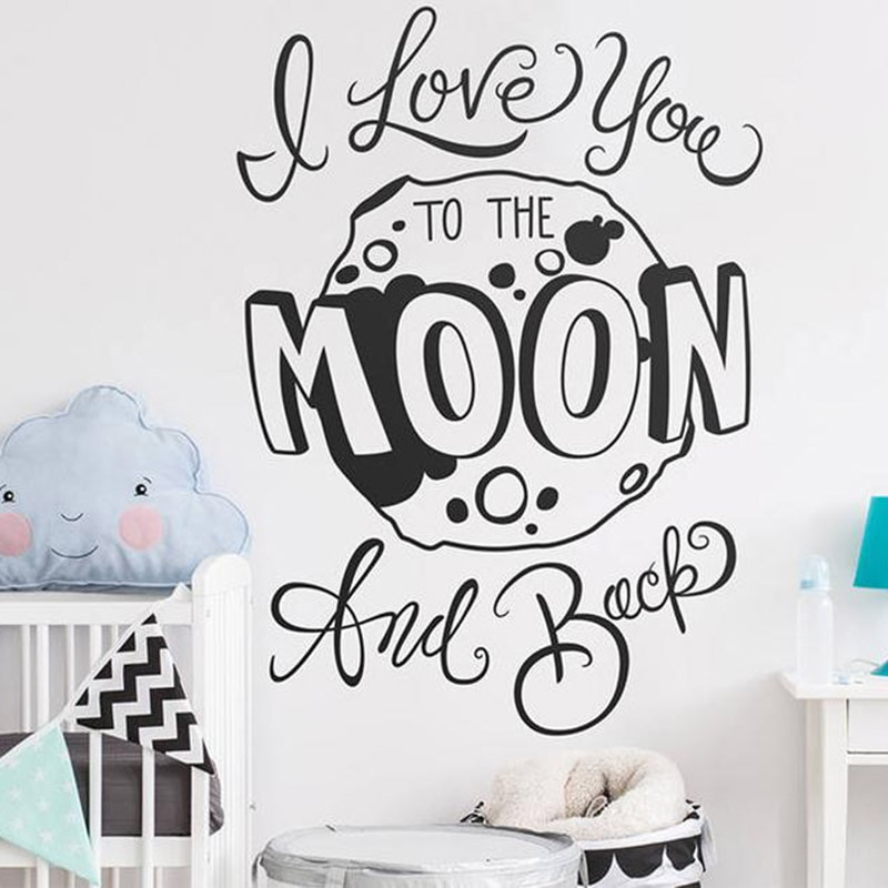 Adhesivo para pared de dormitorio infantil-I Love You to the Moon and Back-cita de pared, pegatina de vinilo, pegatina de Luna, cita de guardería, pegatina de pared, A13-026
