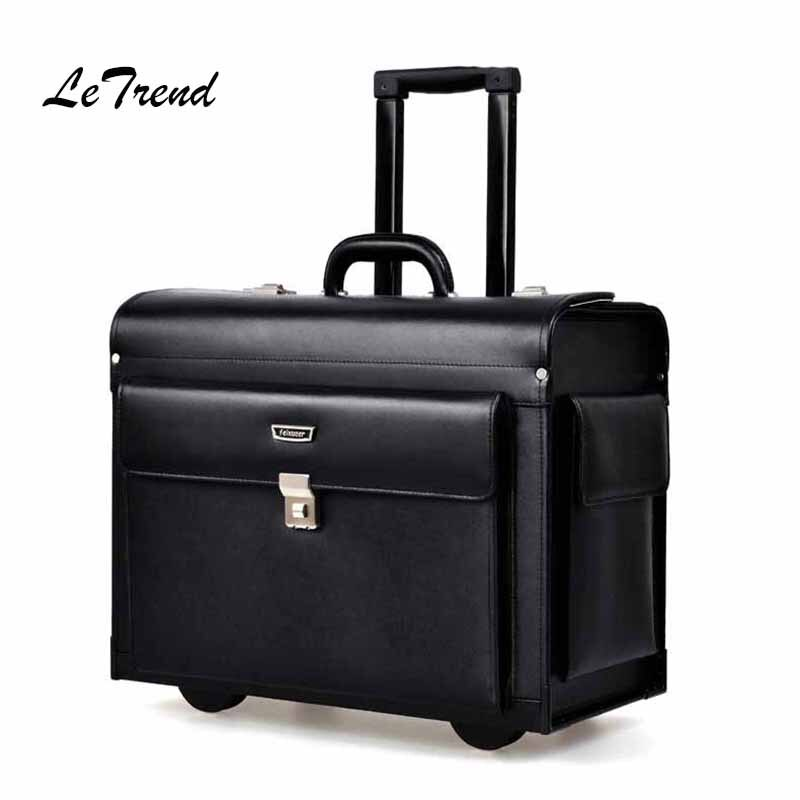 Letrend Cow Genuine Leather Rolling Luggage Pilots/captains dedicated flight Trolley Cabin Suitcases Wheels Laptop Travel Bag