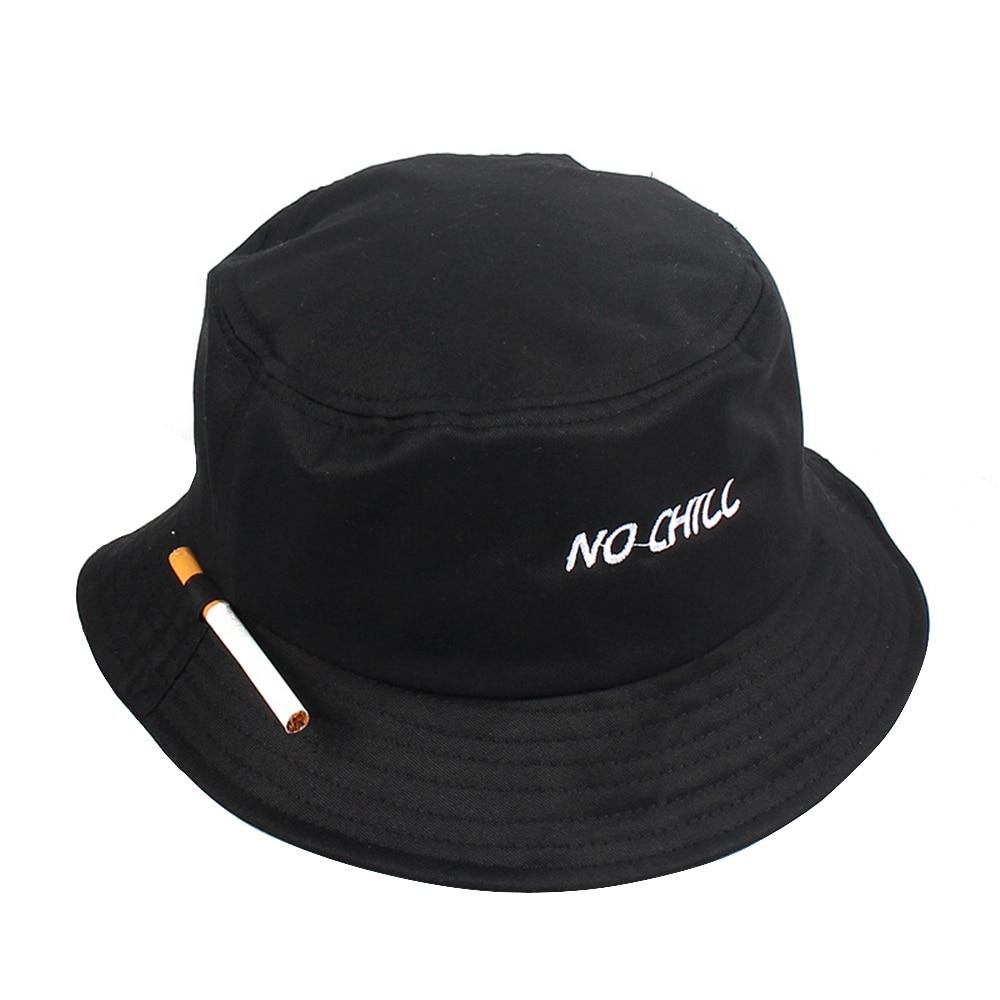 Unisex Bucket Hat Fisherman Caps Leisure Fashion Women Cigarette Embroidery Bob Caps Cotton Outdoor Beach Sun Hats