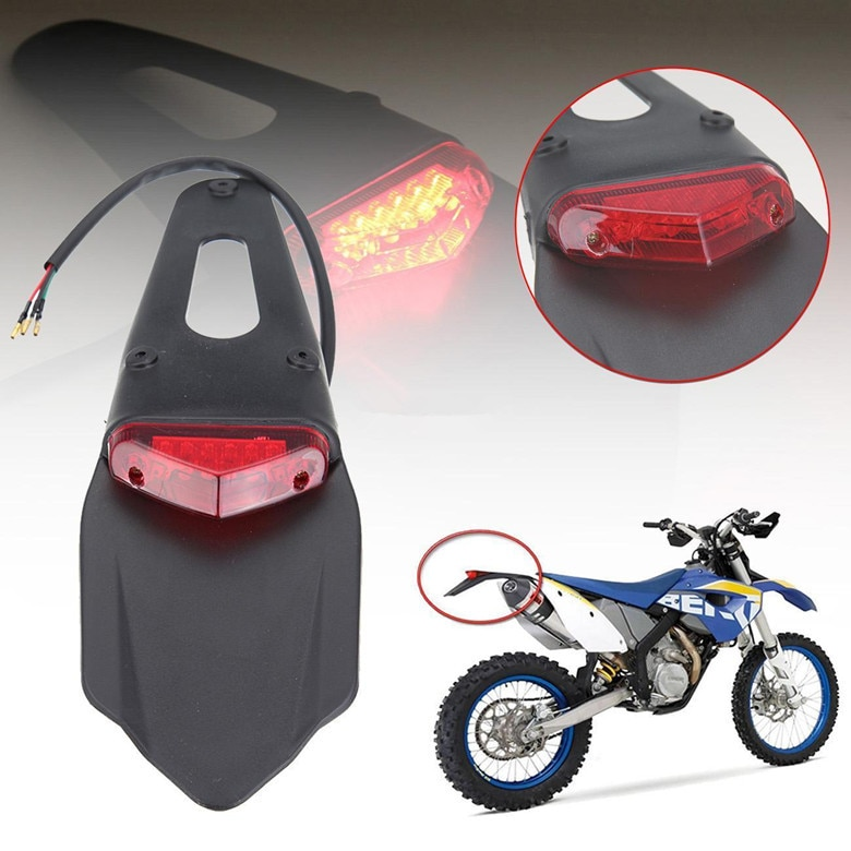 Luz trasera de freno LED Universal para motocicleta y guardabarros trasero guardia motocross moto personalizada