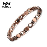 welmag women vintage pure copper therapy magnetic bracelets bangles heart hollow charm healing bracelet femme gifts dropship