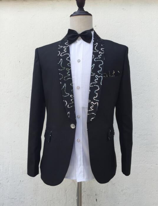 بدلة زفاف جوقة للعريس للرجال ، بليزر أسود ، للأولاد ، حفلة موسيقية ، ترتر ، أزياء رجالية ، نحيف ، بدلة بنطلون ، أحدث تصاميم