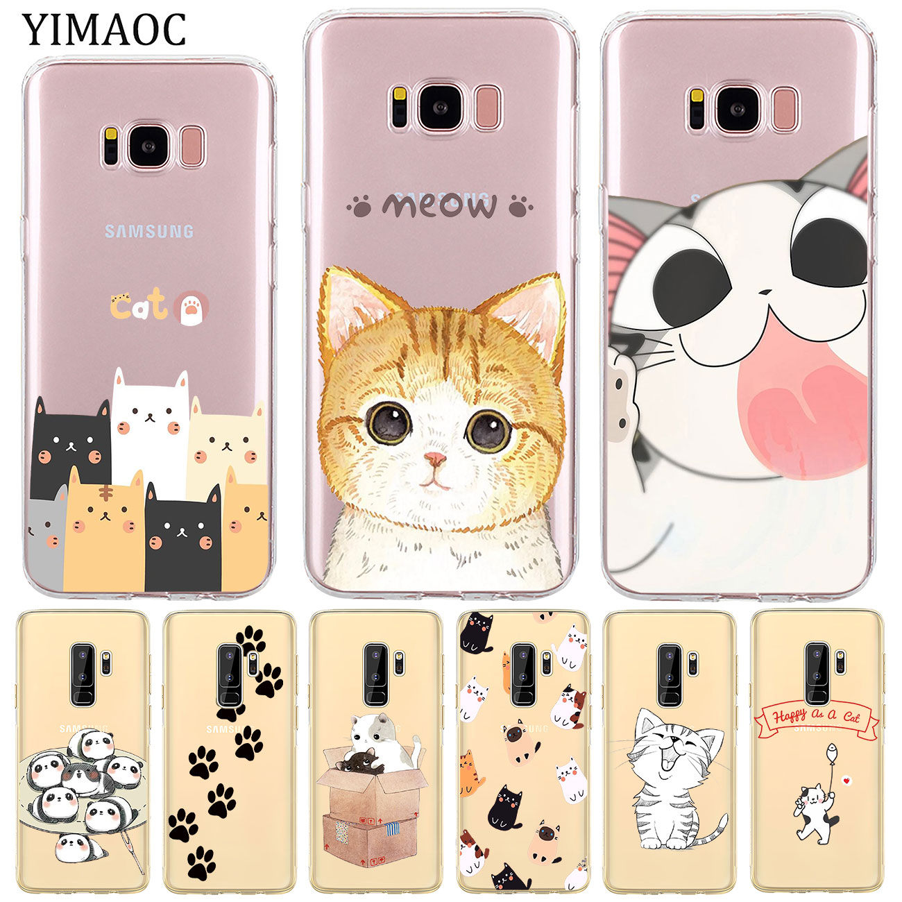 YIMAOC Cartoon Cat Meow Soft Silicone Phone Shell Case for Samsung Galaxy S10e S10 S9 S8 Note 10 Plu