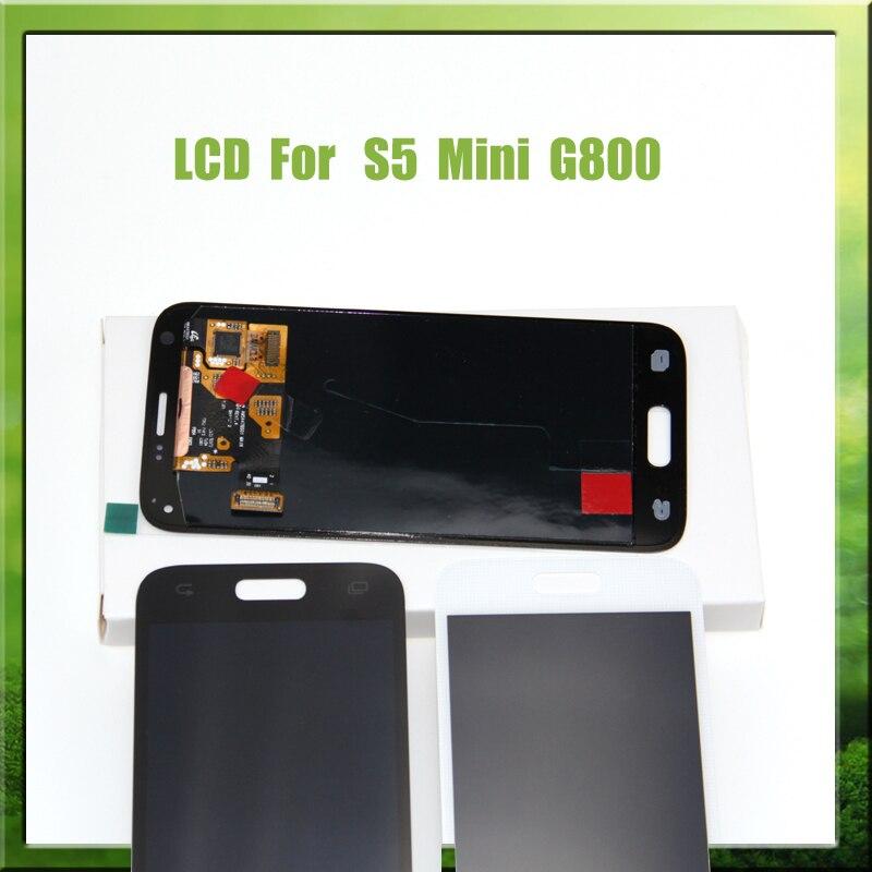 Negro para Samsung s5 lcd SM-G900 SM-G900F G900 con montaje de digitalizador con pantalla táctil para Samsung Galaxy S5 Mini G800 G800F