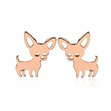 Daisies 1Pair New Arrival Chihuahua Earrings for Women Cute Dog Studs Statement Jewelry Animal Earri