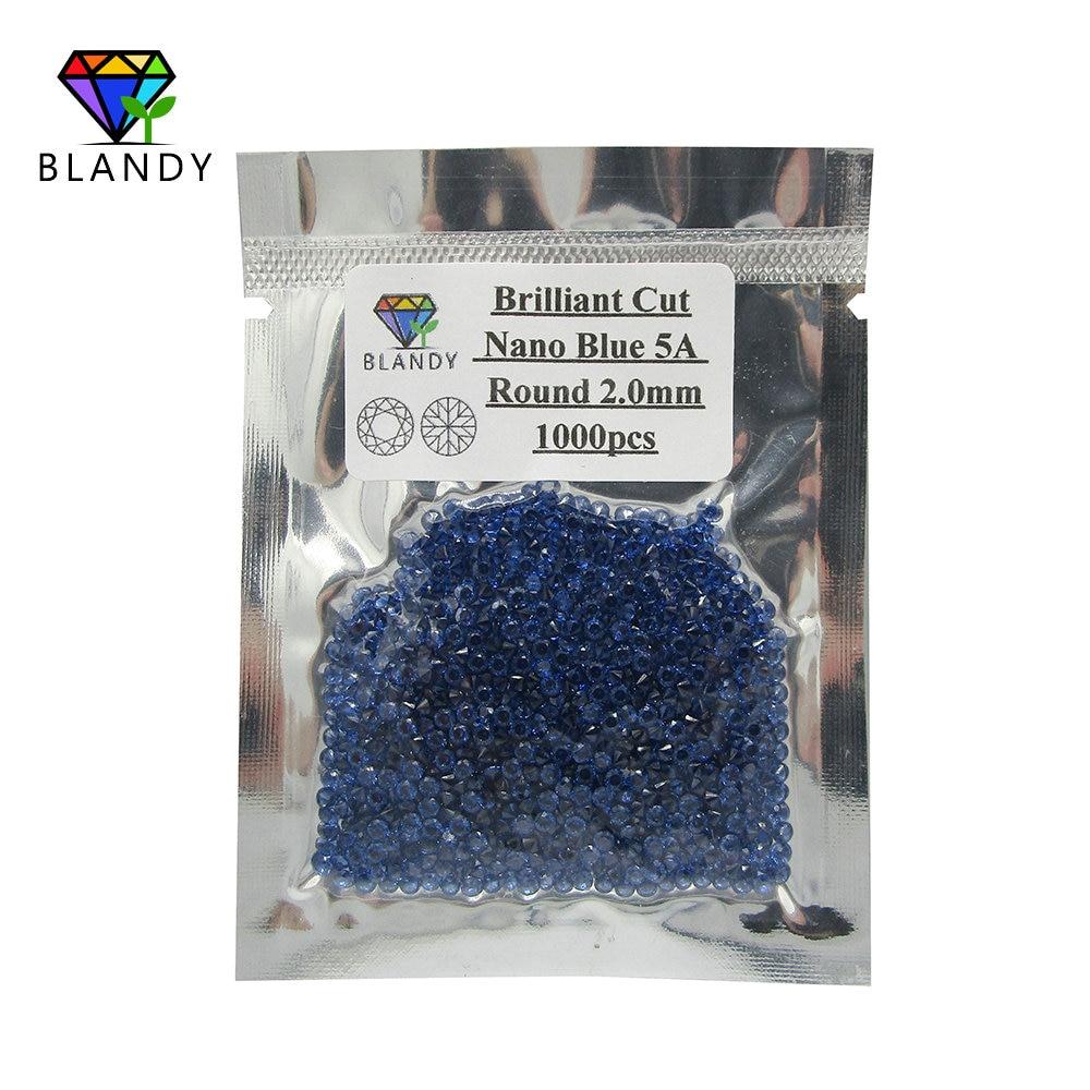 Frete Grátis 5A 1.0-2.5mm Corte Redondo Azul Nano 1000 pçs/lote Nano Sintético Pedra Azul Para A Definição de Cera