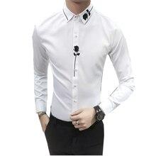 Nouveau hommes manches longues brodé robe chemise mode Rose décoration fête hommes chemise taille S M L XL 2XL 3XL