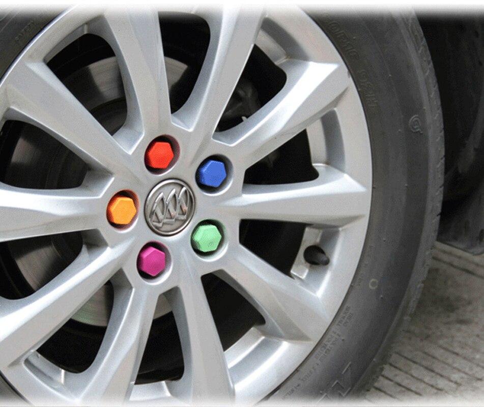 JEAZEA 20Pcs 21mm Silicone Hexagonsal Car Wheel Lug Nut Bolt Hub Cover Protective Tyre Valve Screw Cap Antirust Caps Rims