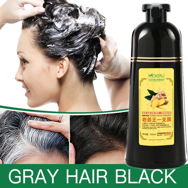 1 шт., мокеру, натуральный Быстросохнущий шампунь, Имбирная краска для волос, постоянный черный волос, шампунь для женщин и мужчин, удаление седых волос