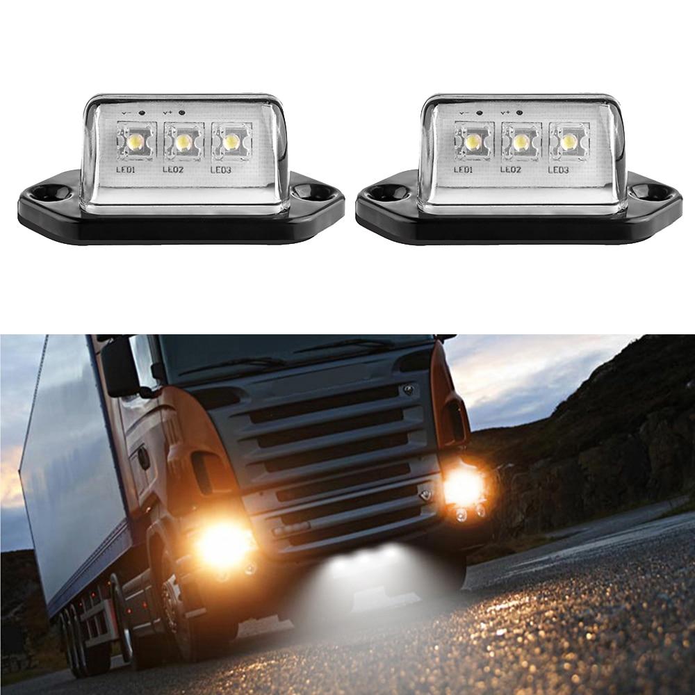 2 uds Universal 12V 3LEDs número de matrícula luz trasera camión remolque luces blancas