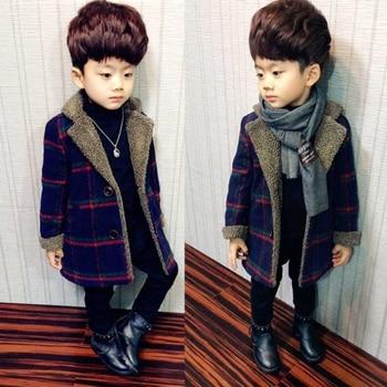 Шерстяные пальто для мальчиков, осенние и зимние куртки для маленьких мальчиков, длинная стеганая теплая детская одежда в клетку, пальто, верхняя одежда