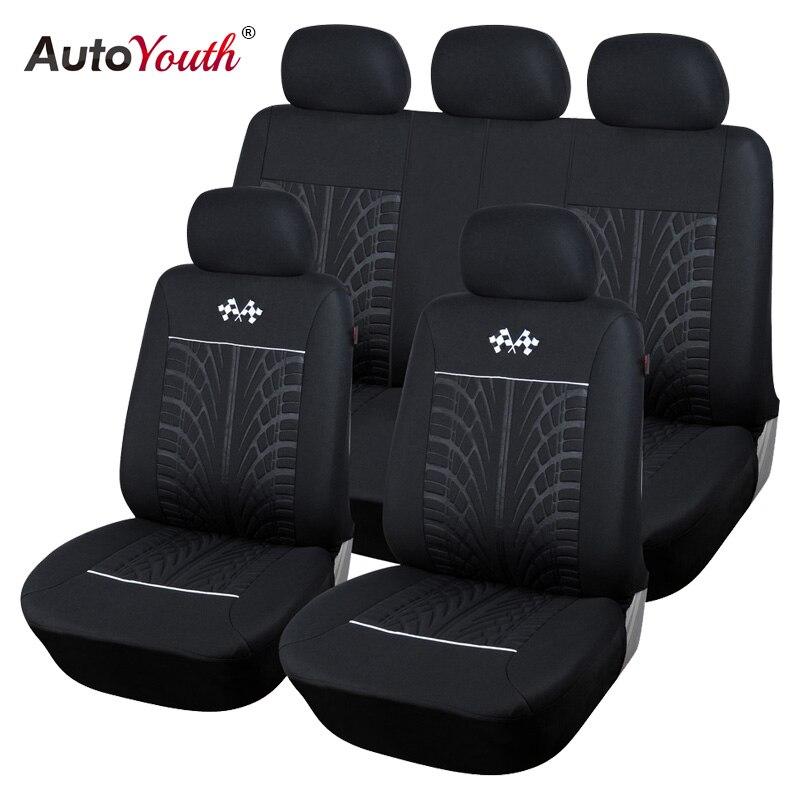 Fundas de asiento de coche deportivo AUTOYOUTH, accesorios interiores protectores de asientos de vehículos universales para TOYOTA Corolla RAV4 negro