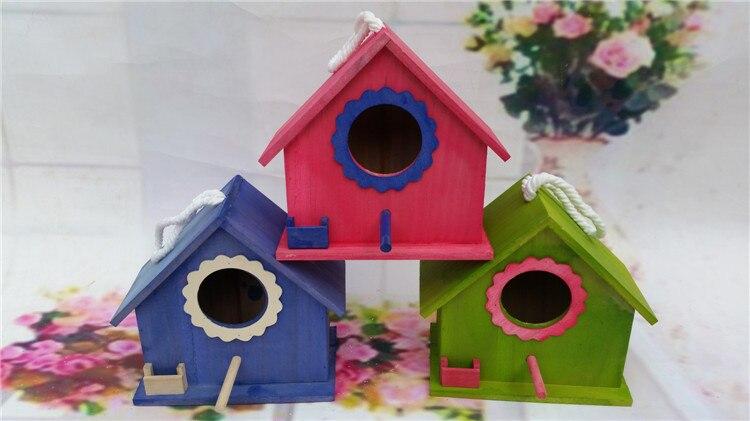 20,5x16x19 см/открытый деревянный ящик для разведения гнезда милый красочный дом для птиц Воробей гнездо садовое украшение