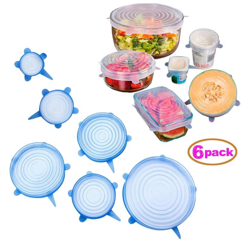 6 pçs silicone tampas de estiramento universal silicone envoltório de alimentos tigela pote tampa de silicone pan cozinha acessórios b
