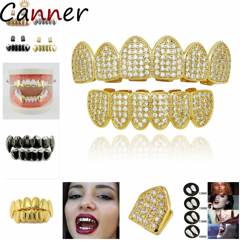 Hip hop dentes grillz definir topo & bootom groll dentes de vampiro do punk grills cosplay dentes boné de halloween jóias r40
