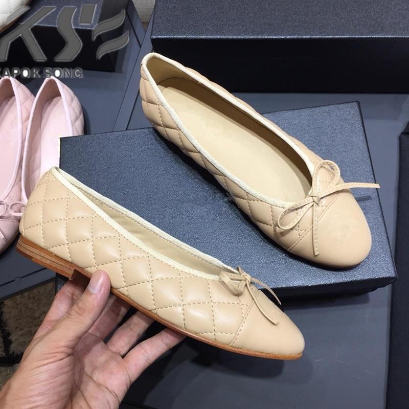 مصمم الأصلي خليط اللون الشقق أحذية النساء fashional حقيقية حقا أحذية من الجلد العلامة التجارية الفاخرة مريحة CC الأحذية