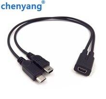 Мини USB 1-2 Y сплиттер кабель, USB 2,0 мини 5-контактный разъем Папа + Micro USB Мужской конвертер высокоскоростной зарядный кабель шнур