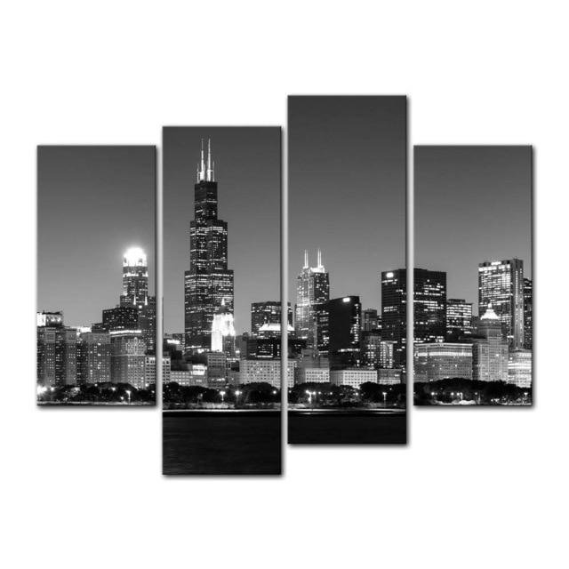 4 Peças Pintura Da Lona Moderna Da Parede Da Arte Vista Panorâmica Da Chicago Skyline À Noite Cityscape Impressão Giclée Arte Para A Parede Deco