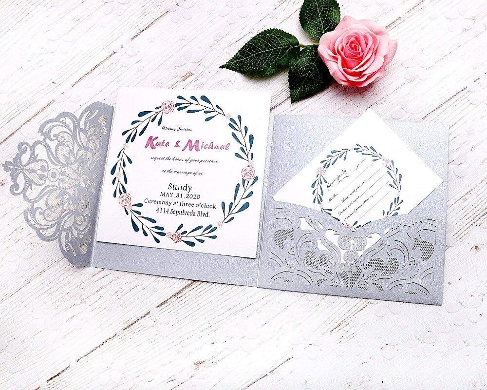 PONATIA 20 PCS 3 Dobras Cartões de Convite para o Casamento de Corte A Laser Convites Cartões de Saudação de Aniversário de Noivado + Livres Cartões de RSVP