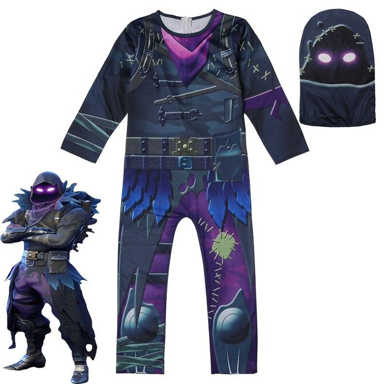 Kids Ffortnite Reaper Raven Cosplay Costume